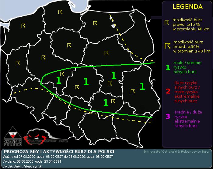 Prognoza konwekcyjna na dzień 07.08.2020 i noc 07/08.08.2020
