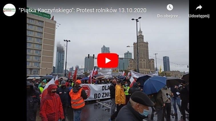 """Wideorelacja zprotestu rolników przeciwko """"piątce Kaczyńskiego""""; 13.10.2020"""