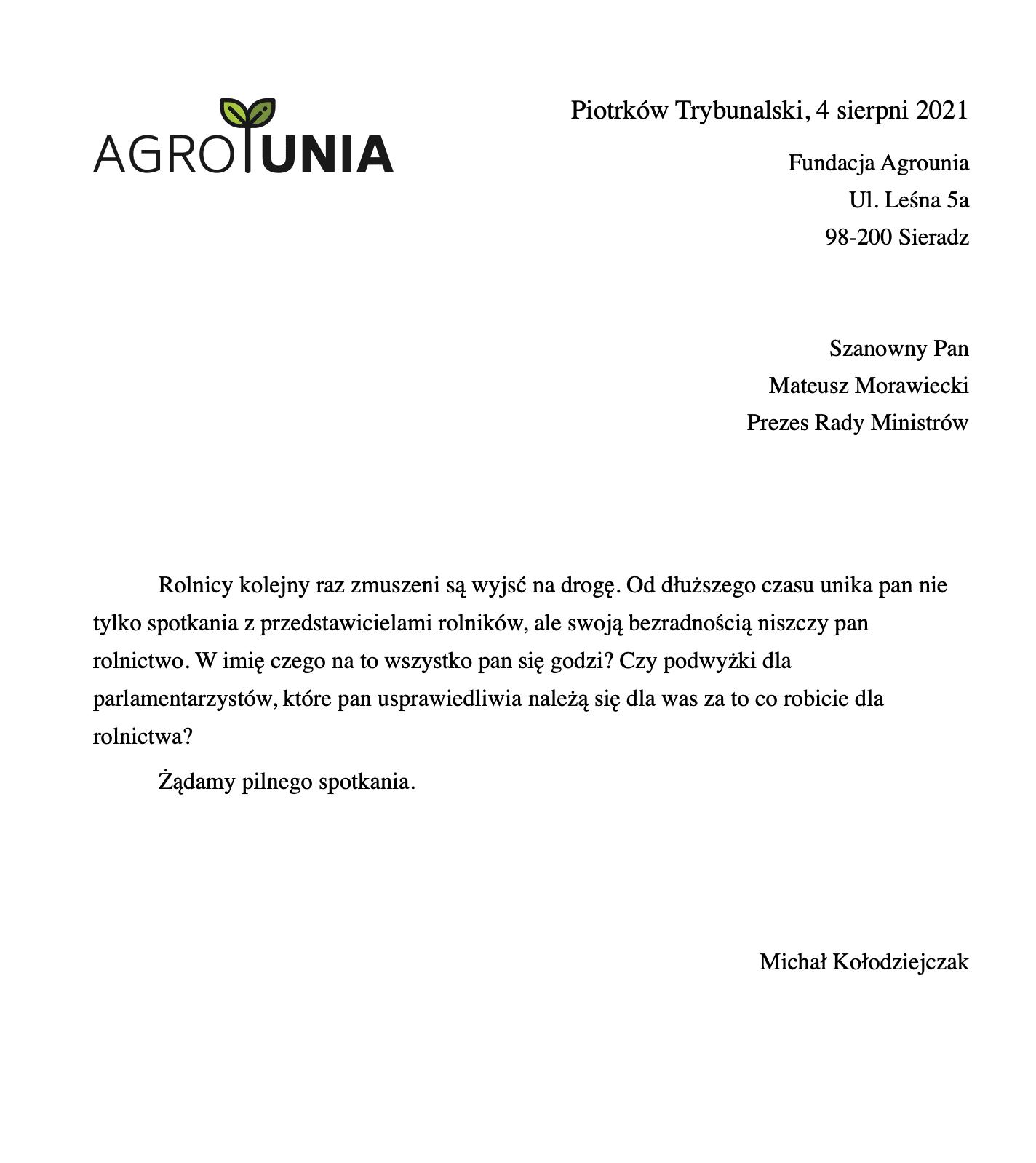 List Agrounii do Premiera RP